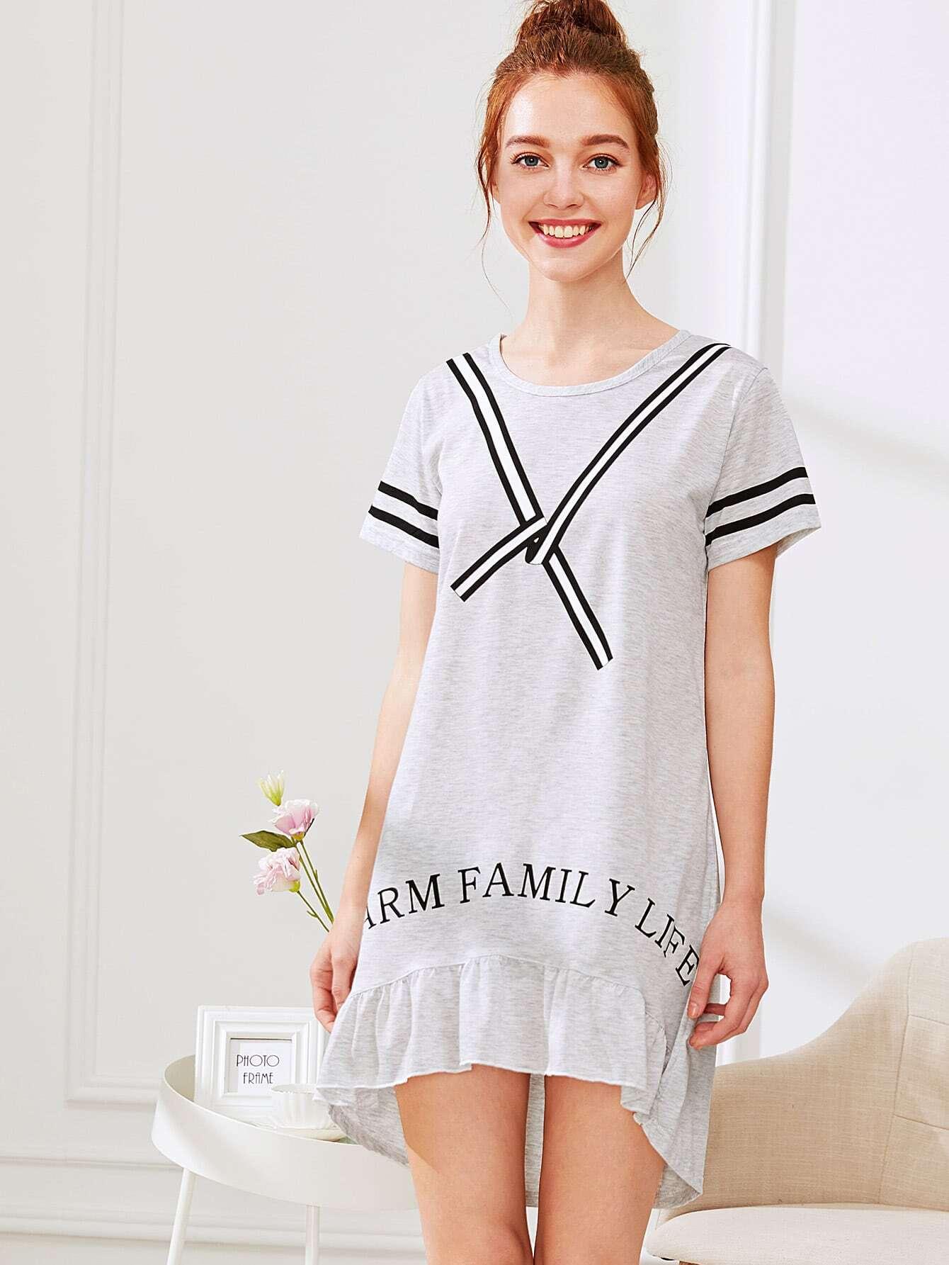Contrast Striped Ruffle Hem Dress stripe contrast ruffle hem hooded dress