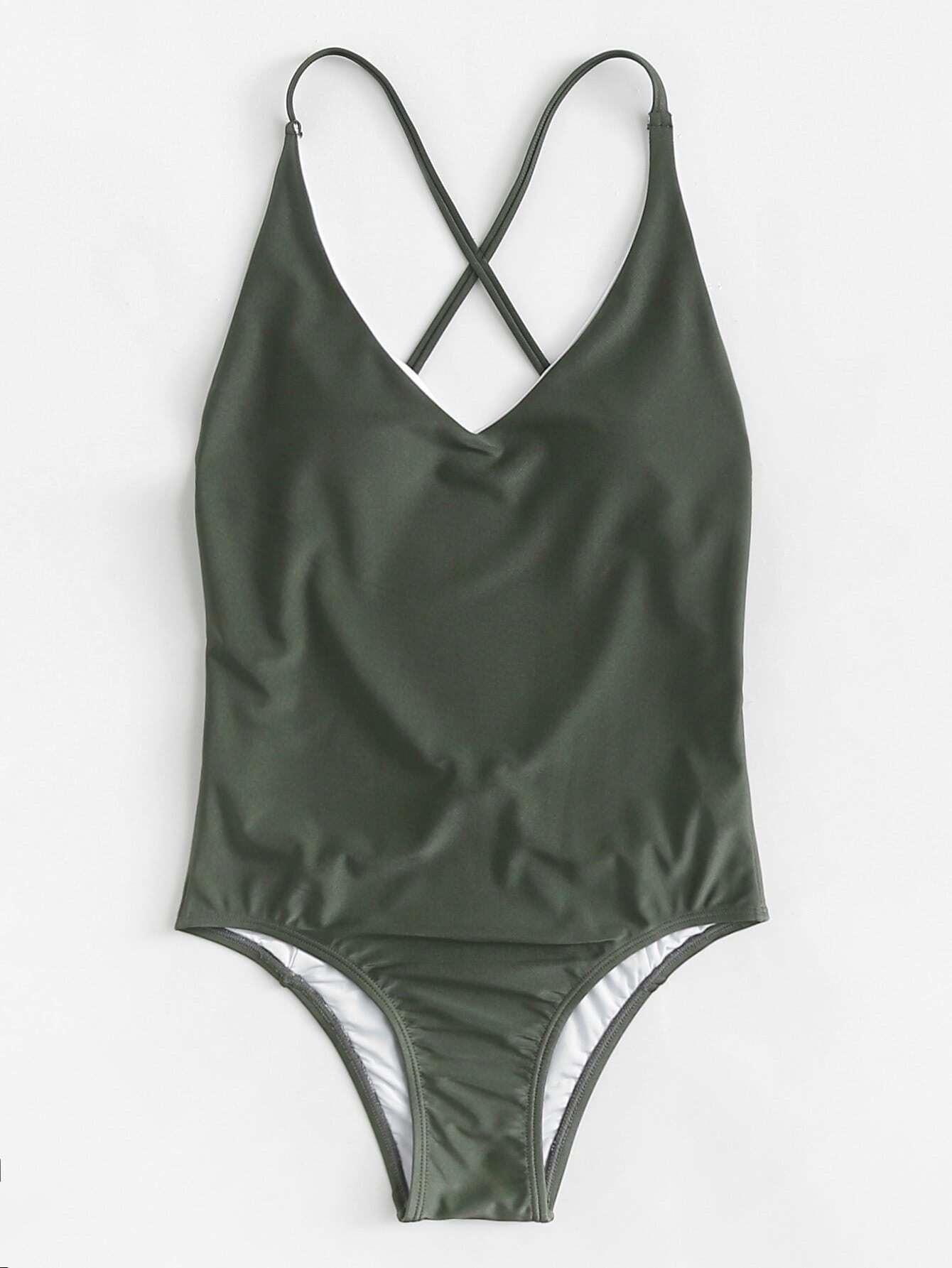 Crisscross Open Back Solid Swimsuit