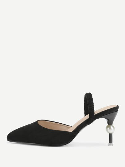 Faux Pearl Detail Pointed Toe Heels