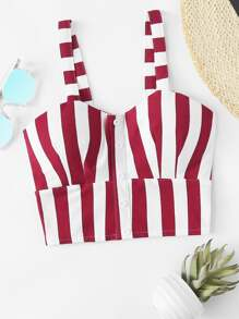 Single Breasted Striped Crop Cami Top