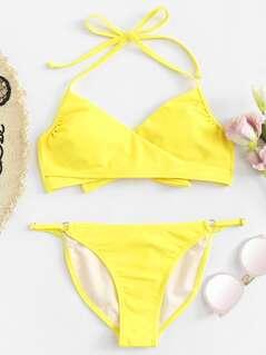 Halter Wrap Top With Ring Linked High Cut Bikini
