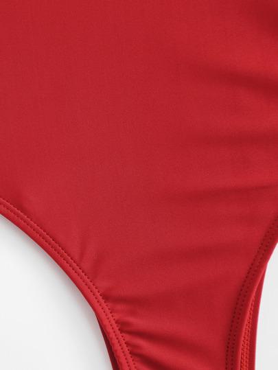 Romwe / Red Square Neck One-Piece Swimwear