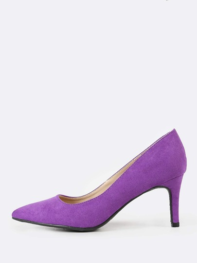 Faux Suede Pointy Toe Pump PURPLE