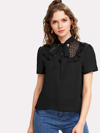 Tie Neck Frill Trim Top