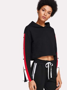 Snap-Button Side Crop Hoodie