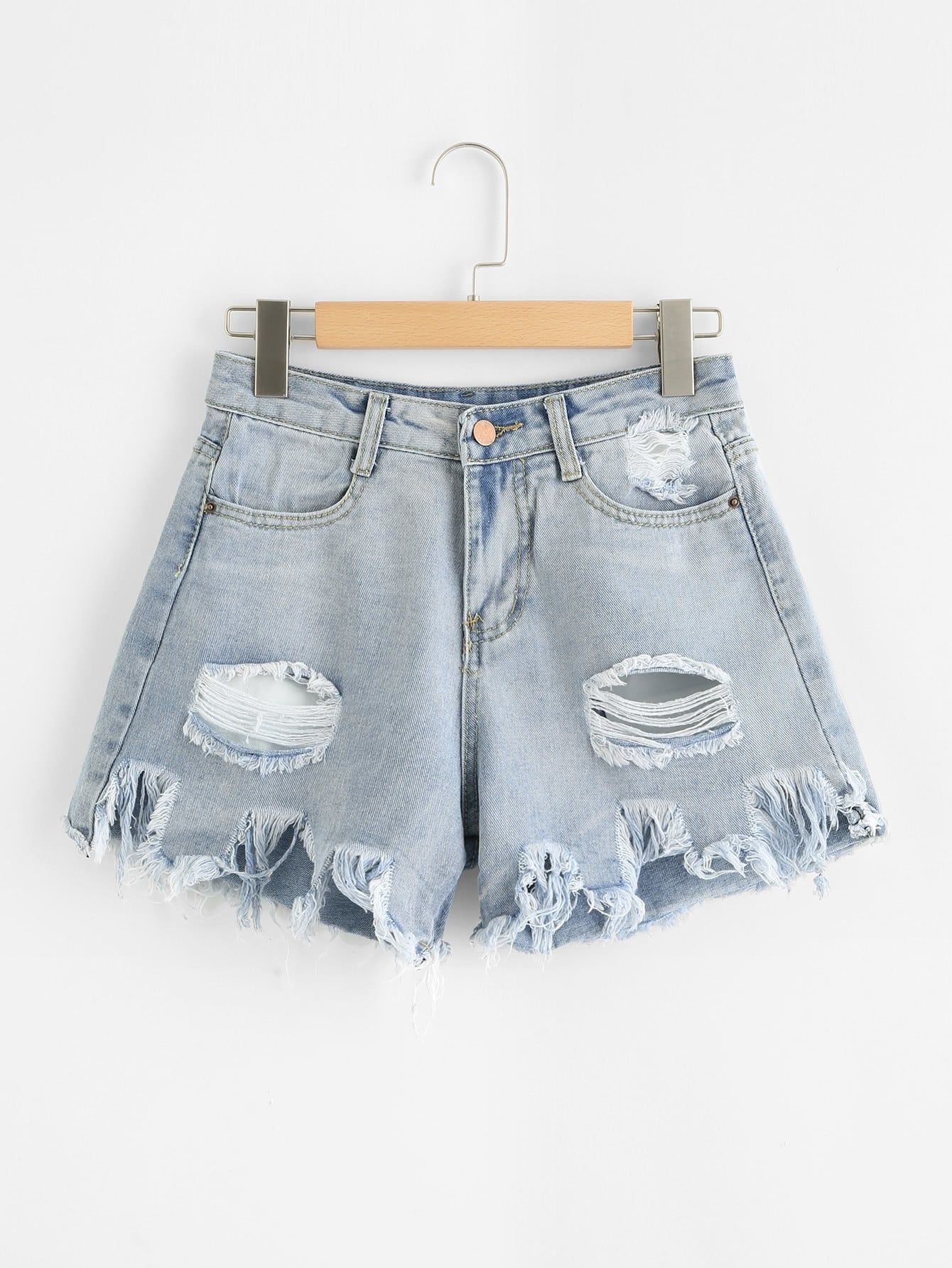 Bleach Wash Raw Hem Ripped Denim Shorts lace up raw hem bleach wash hot pants