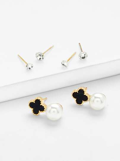 Flower Detail Stud Earring Set With Jewelry