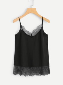 V Neckline Lace Panel Cami Top