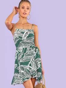 Knot Side Palm Print Cami Dress