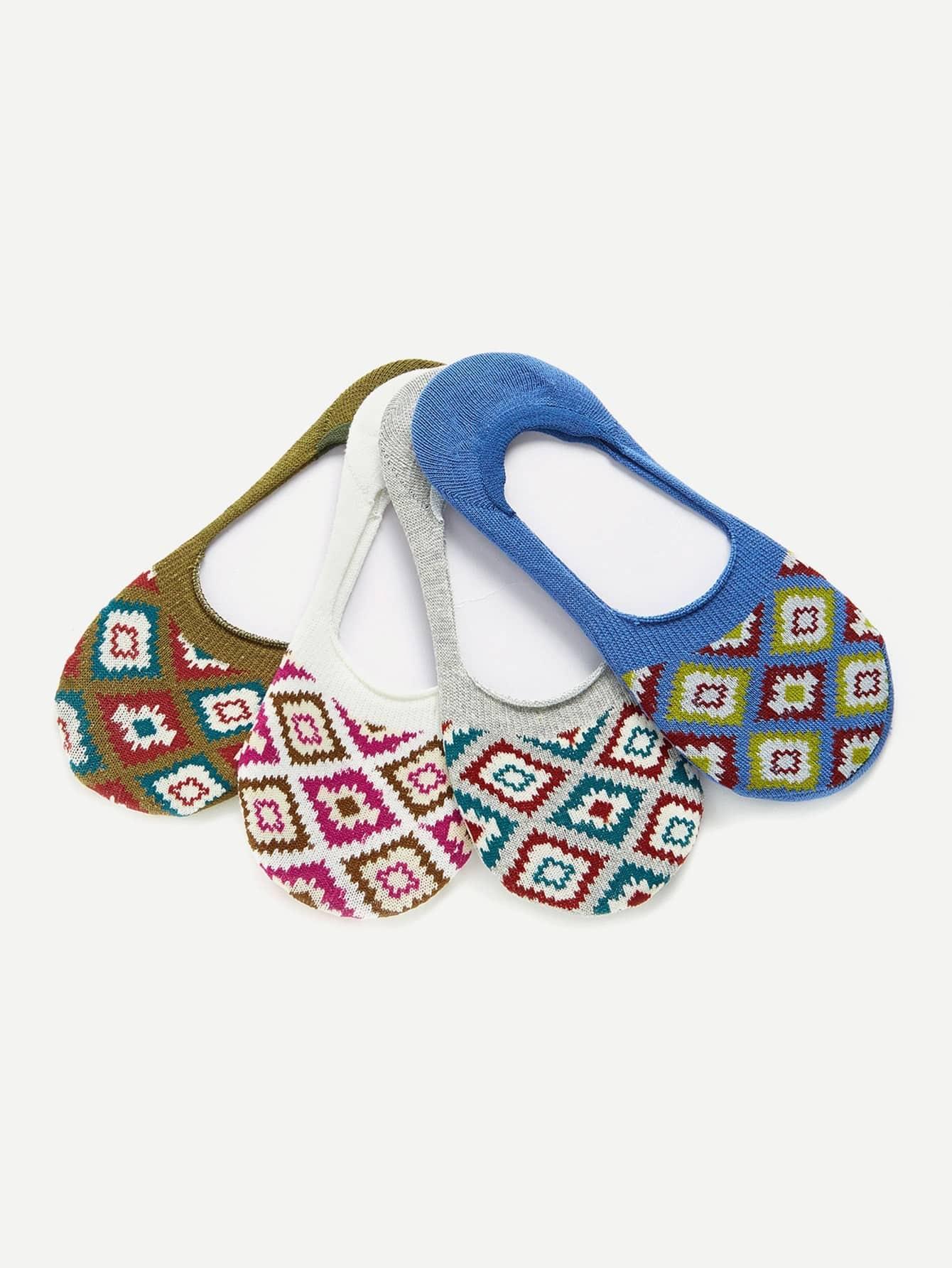 Geometric Pattern Invisible Socks 4pairs