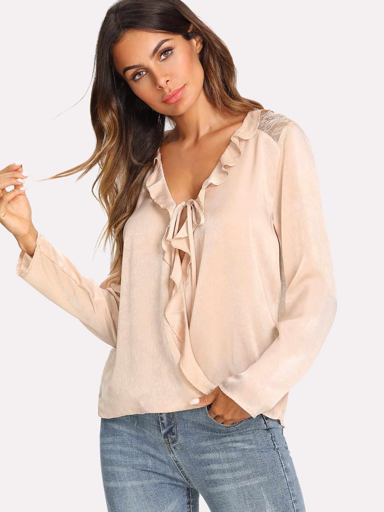 Ruffle Trim Wrap Blouse ruffle trim blouse