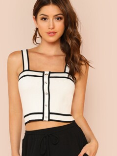 Contrast Binding Button Front Rib Knit Crop Top