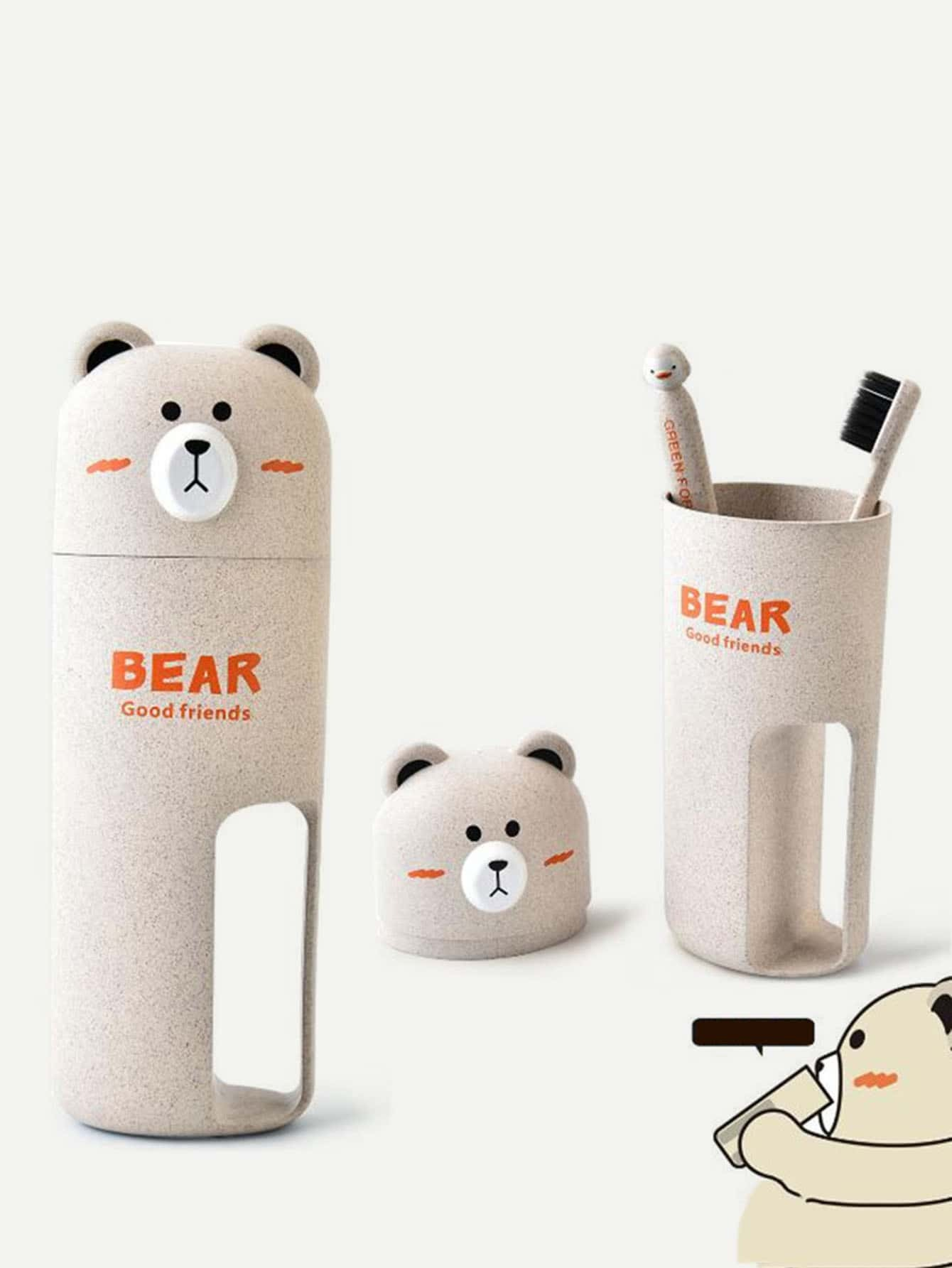 Bear Lid Toothbrush Holder bear shaped toothbrush container