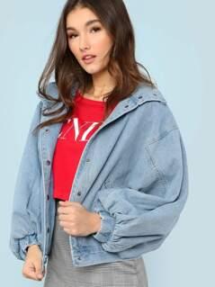 Medium Wash Wide Sleeve Oversized Denim Jacket BLUE