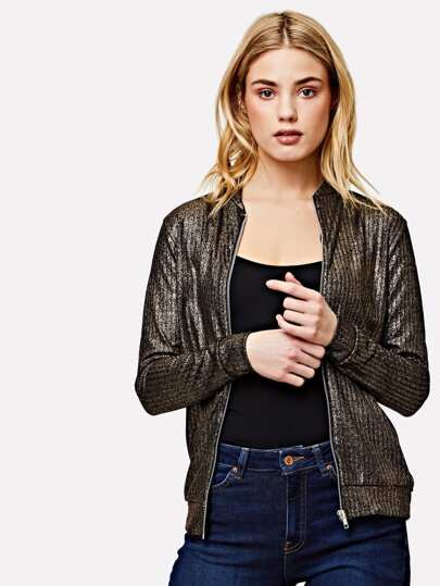 Zipper Up Front Glitter Jacket