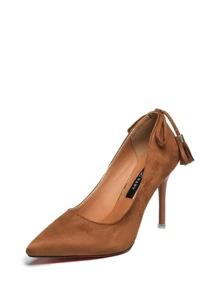 Tassel Decor Pointed Toe Stiletto Heels