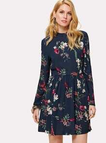 Mock Neck Split Back Botanical Dress
