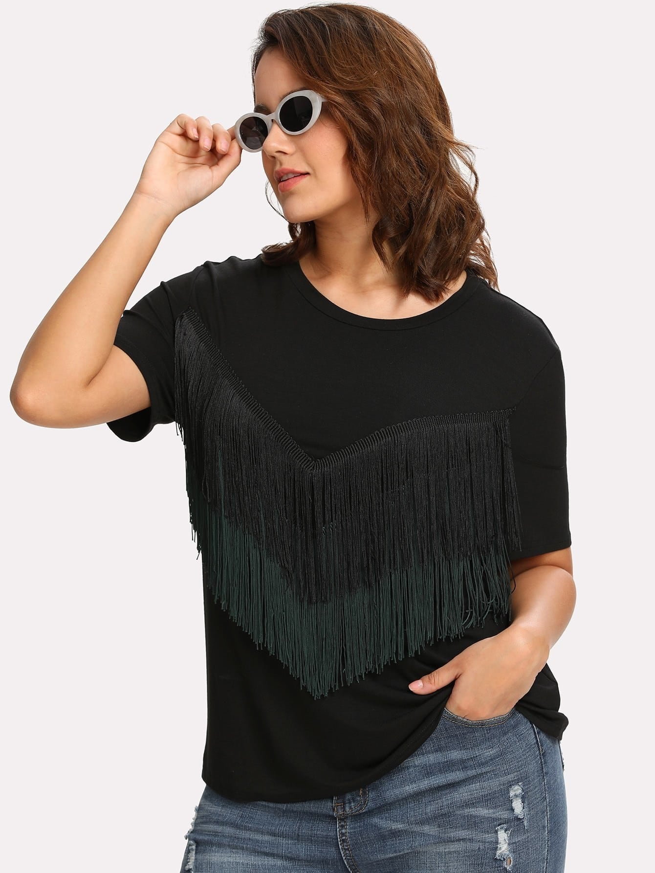 Layered Chevron Fringe Detail T-shirt layered fringe detail keyhole back top