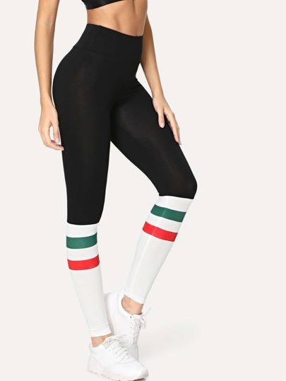 Contrast Tape Color Block Leggings