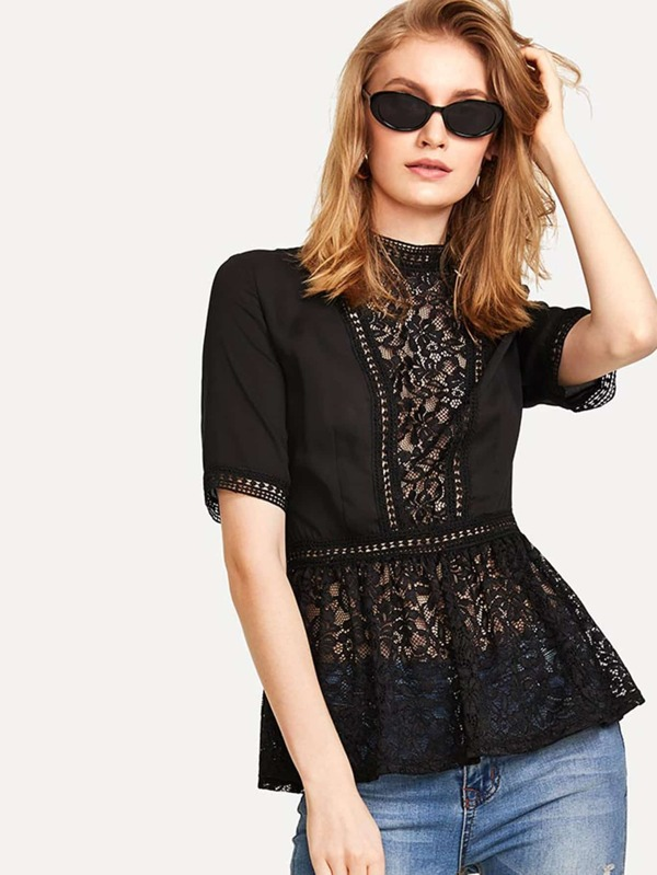 Floral Lace Insert Pep Hem Blouse by Shein