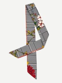 Houndstooth & Flower Print Skinny Scarf