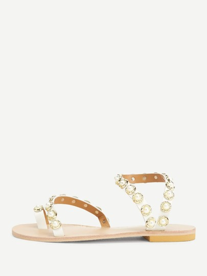 Faux Pearl Strappy Flat Sandals