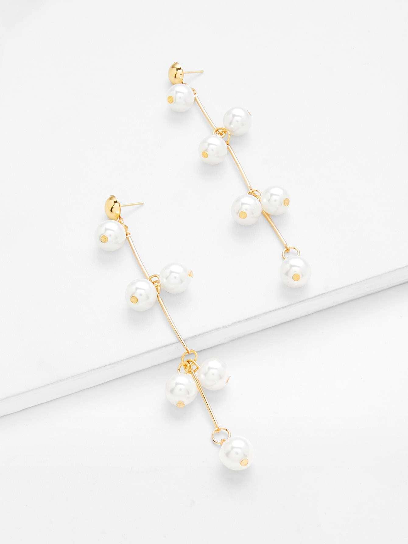 Faux Pearl Decorated Dangle Earrings