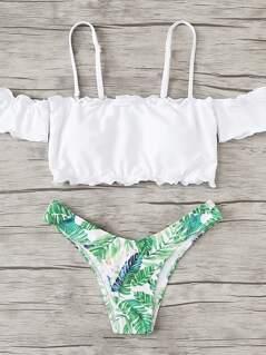 Lettuce Edge Tropical Print Bikini Set