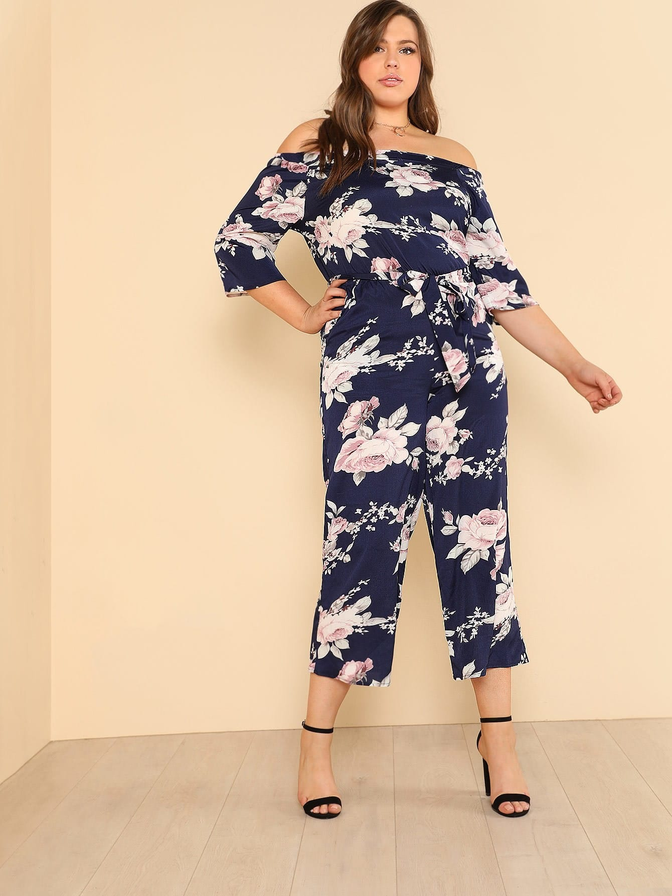 Flower Print Belted Wide Leg Jumpsuit