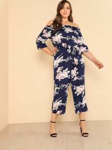Flower Print Belted Wide Leg Jumpsuit