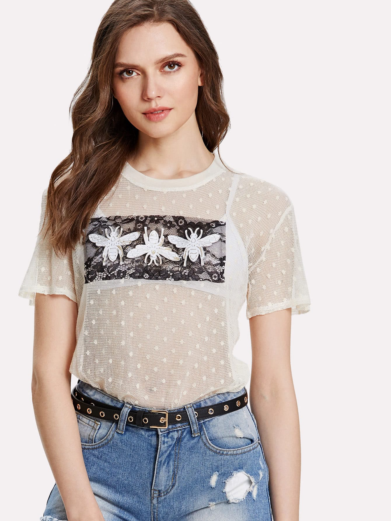 все цены на Bee Applique Lace Panel Sheer Top without Bralette