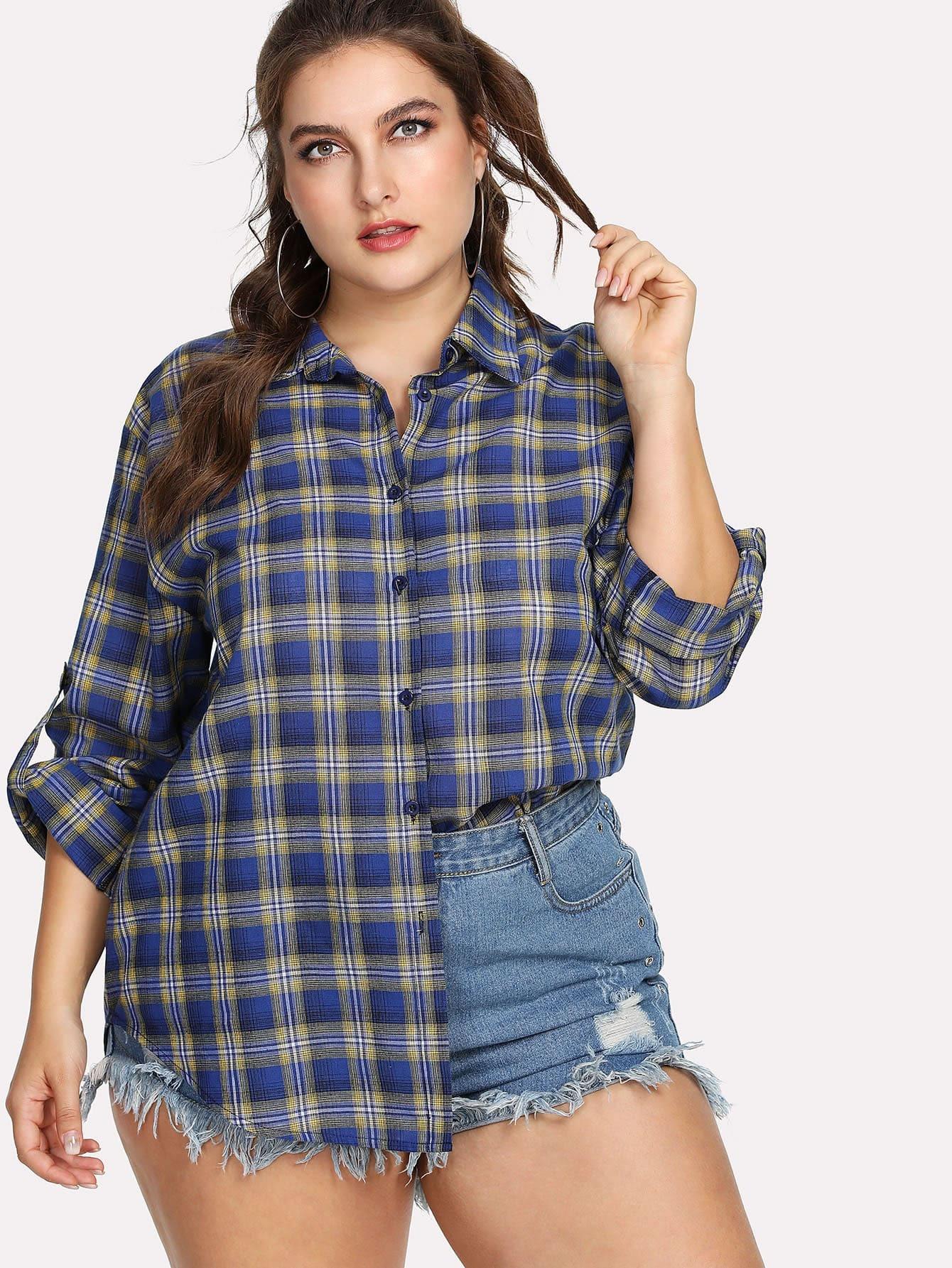 Roll Tab Sleeve Plaid Shirt stoosh new salmon juniors roll tab sleeve plaid shirt s $34 dbfl