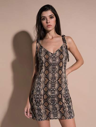 Snakeskin Pattern Knot Cami Dress