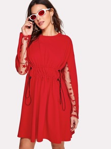 Lace Sleeve Drawstring Waist Dress