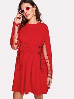 Lace Sleeve Drawstring Waist Dress