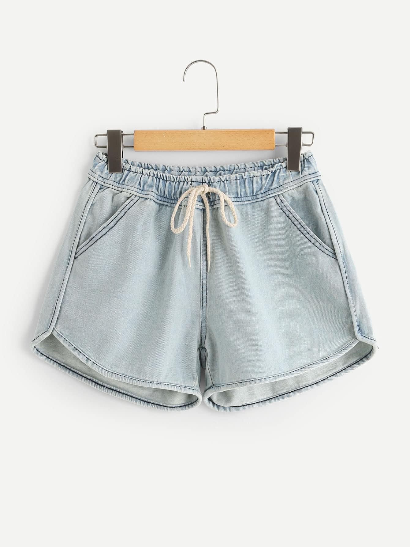 Bleach Wash Drawstring Waist Denim Shorts stylish women s lace embellised bleach wash denim shorts