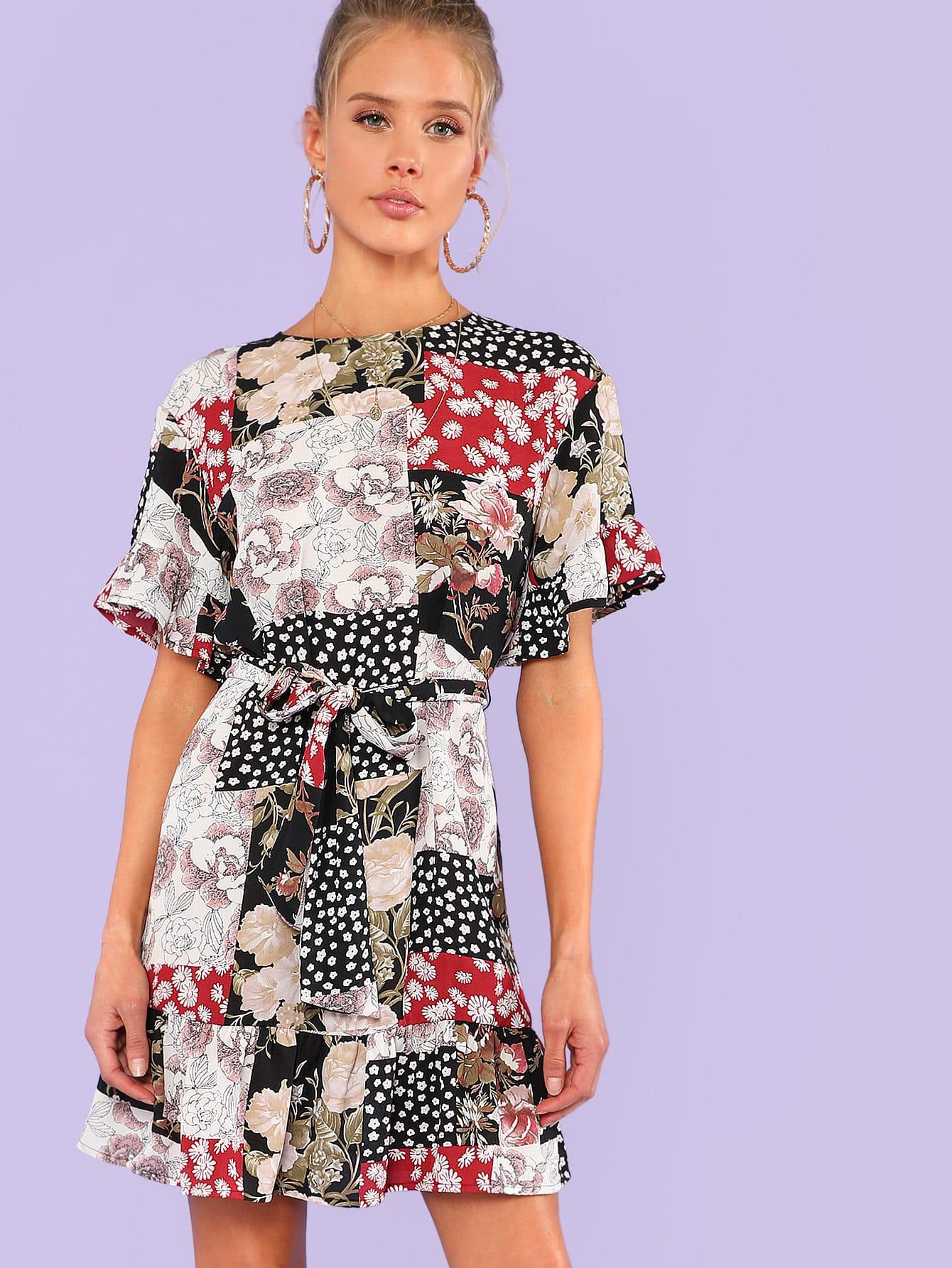 Купить Платье с принтом цветы, Allie Leggett, SheIn