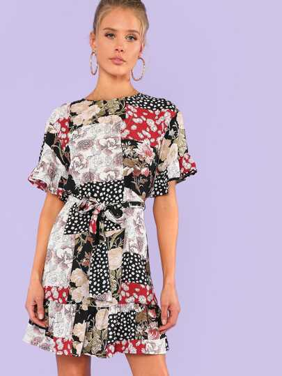 Ruffle Sleeve Mixed Print Dress