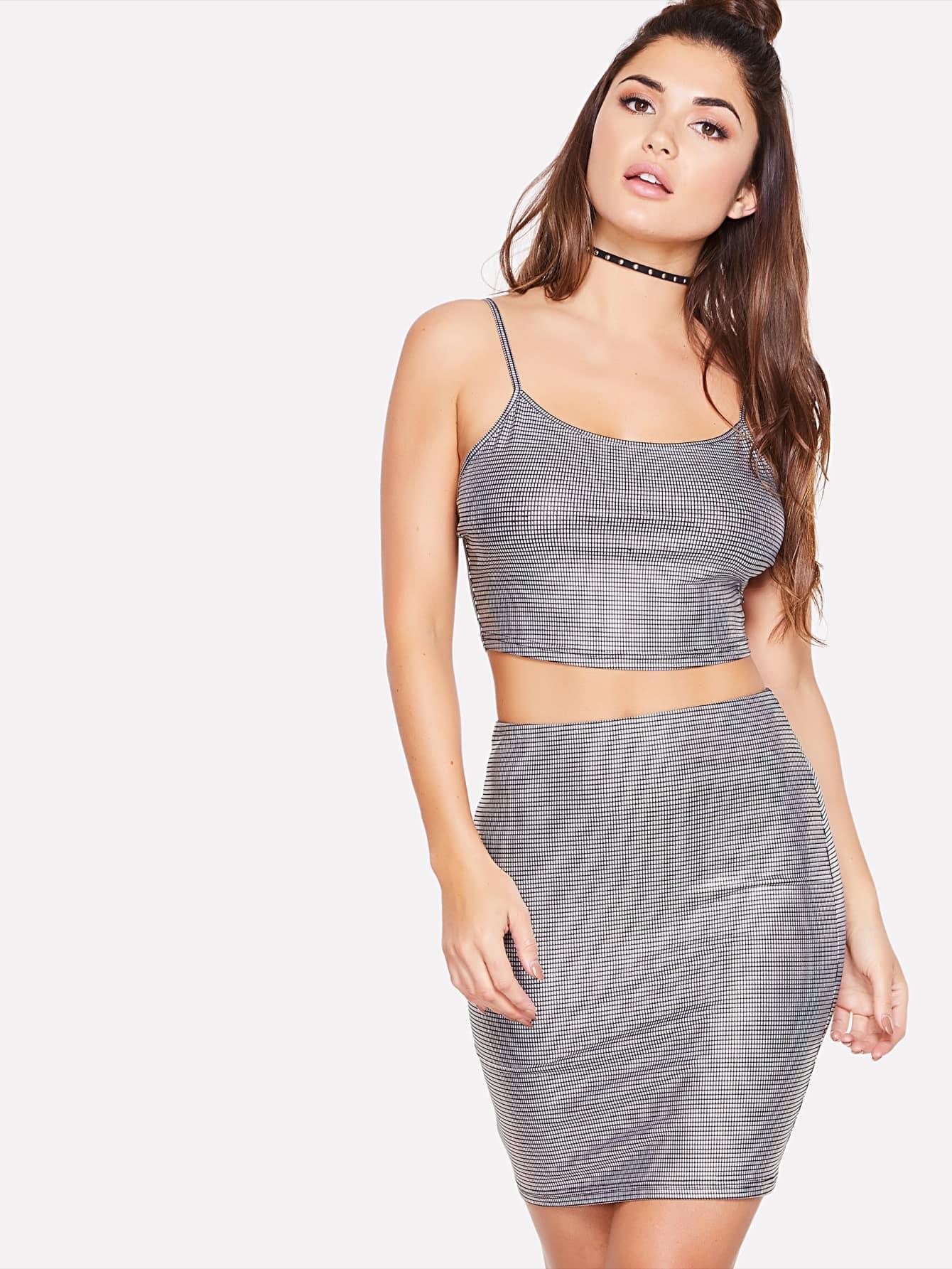 Metallic Crop Cami Top & Skirt Set zip back plaid crop top and skirt set