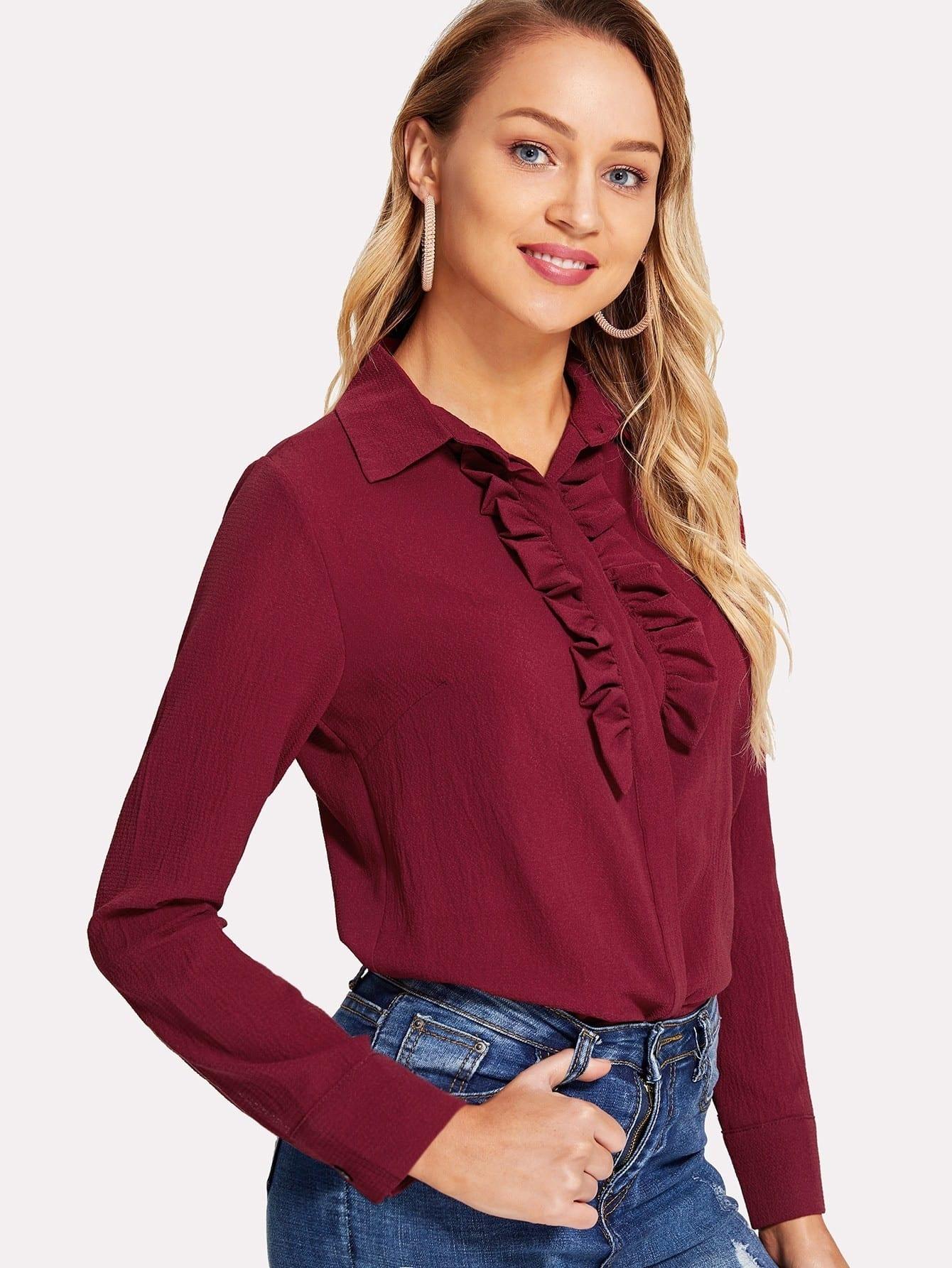Frill Trim Solid Color Shirt frill trim shirt