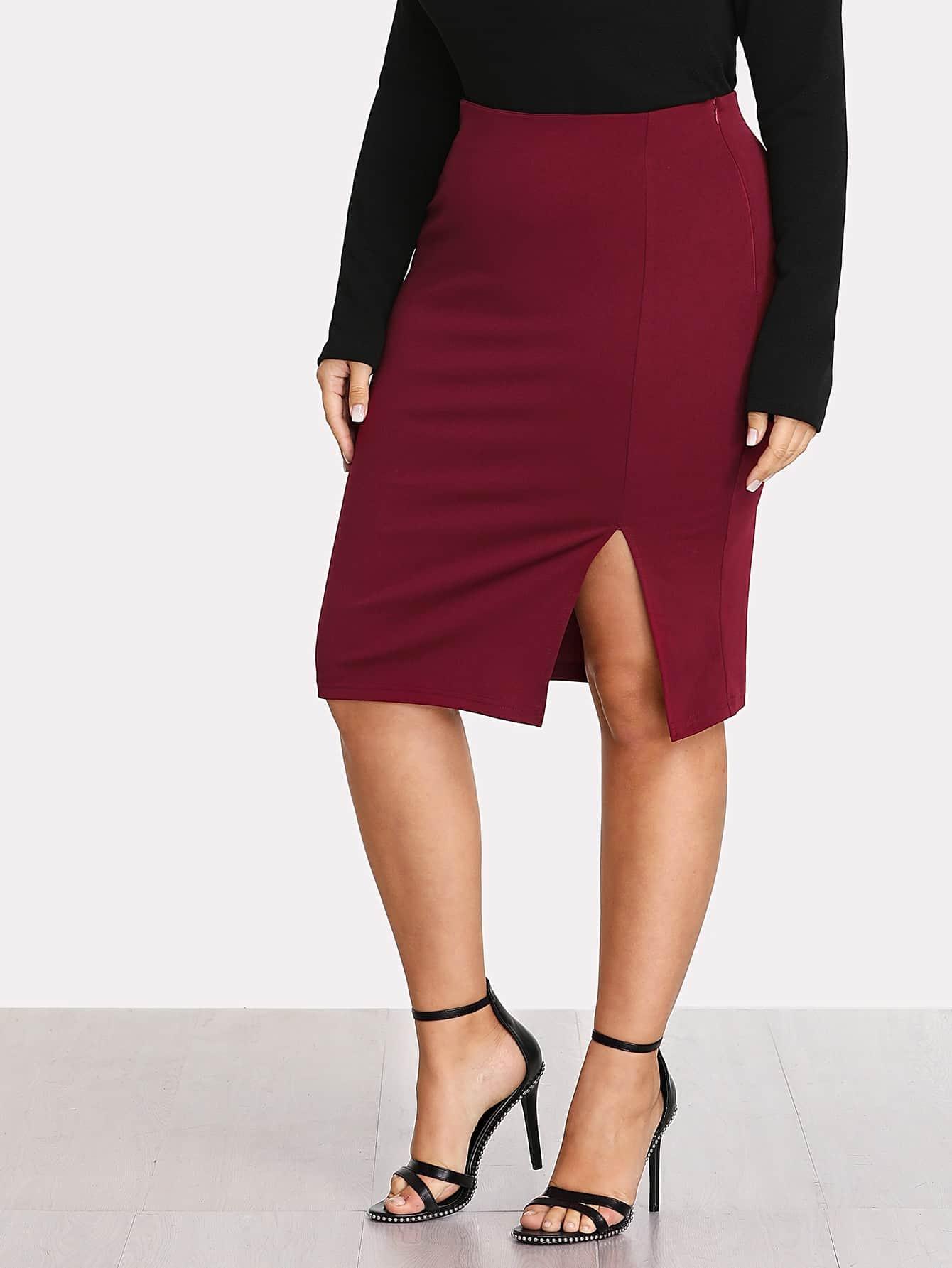 Plus Zipper Up Side Split Skirt