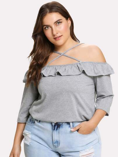Crisscross Neck Heather Knit Ruffle Tee