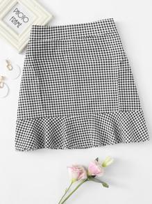 Ruffle Hem Checked Zip Up Skirt