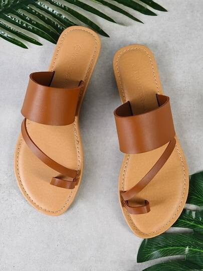 Toe Ring Diagonal Strap Single Band Slide Sandal WHISKEY