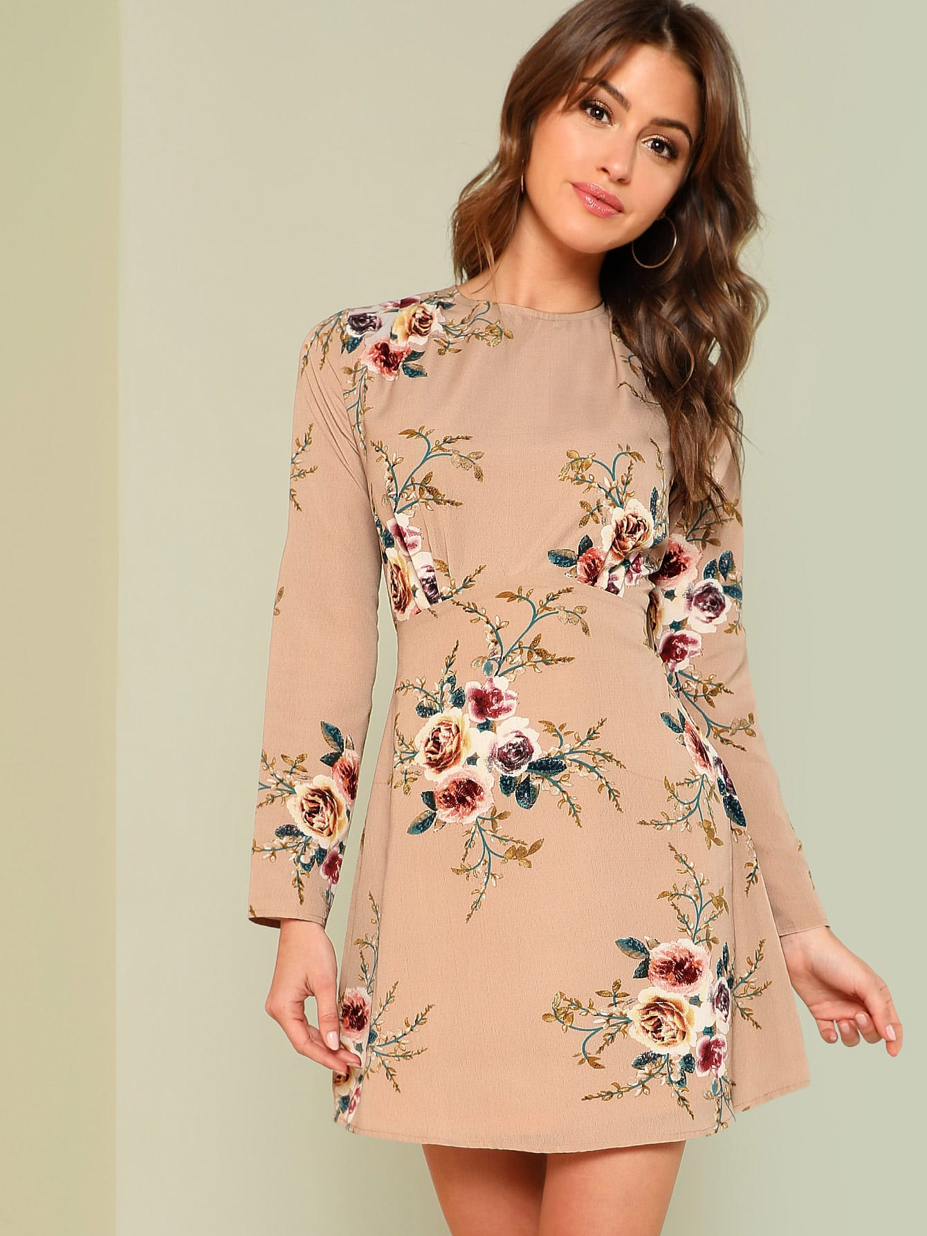 Flower Print Pleated Fit & Flare Dress лампа автомобильная philips 13821b2 бл 2