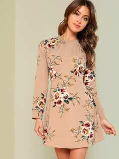 Flower Print Pleated Fit & Flare Dress