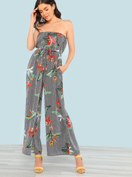 uk cheap sale pretty nice elegant appearance Strapless Wide Leg Flower Print Striped Jumpsuit with Drawstring Waist  BLACK | MakeMeChic.COM
