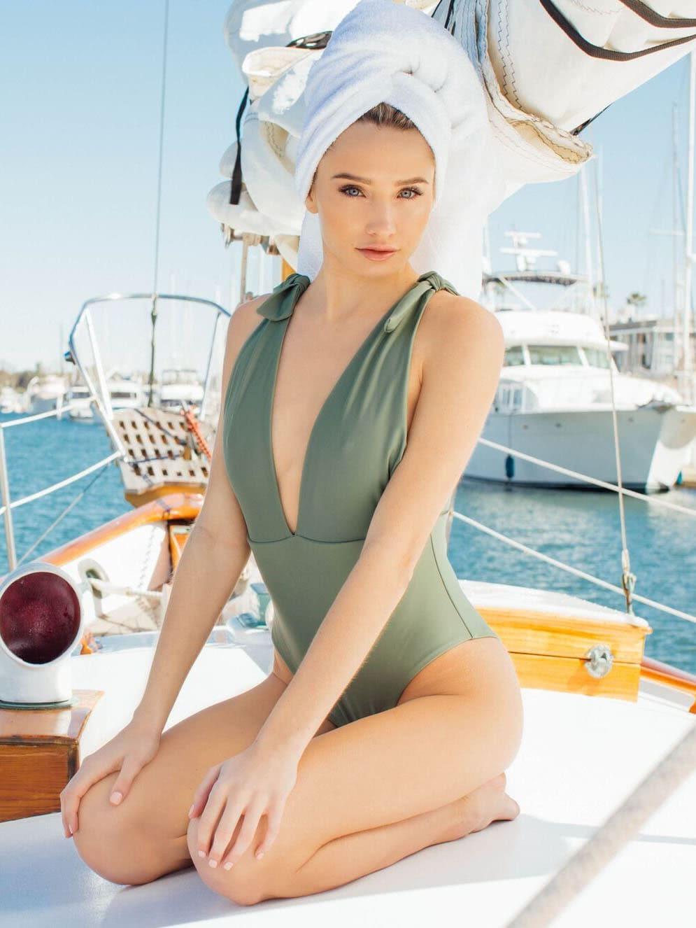 Deep V Plunge Knot Swimsuit wrap knot swimsuit