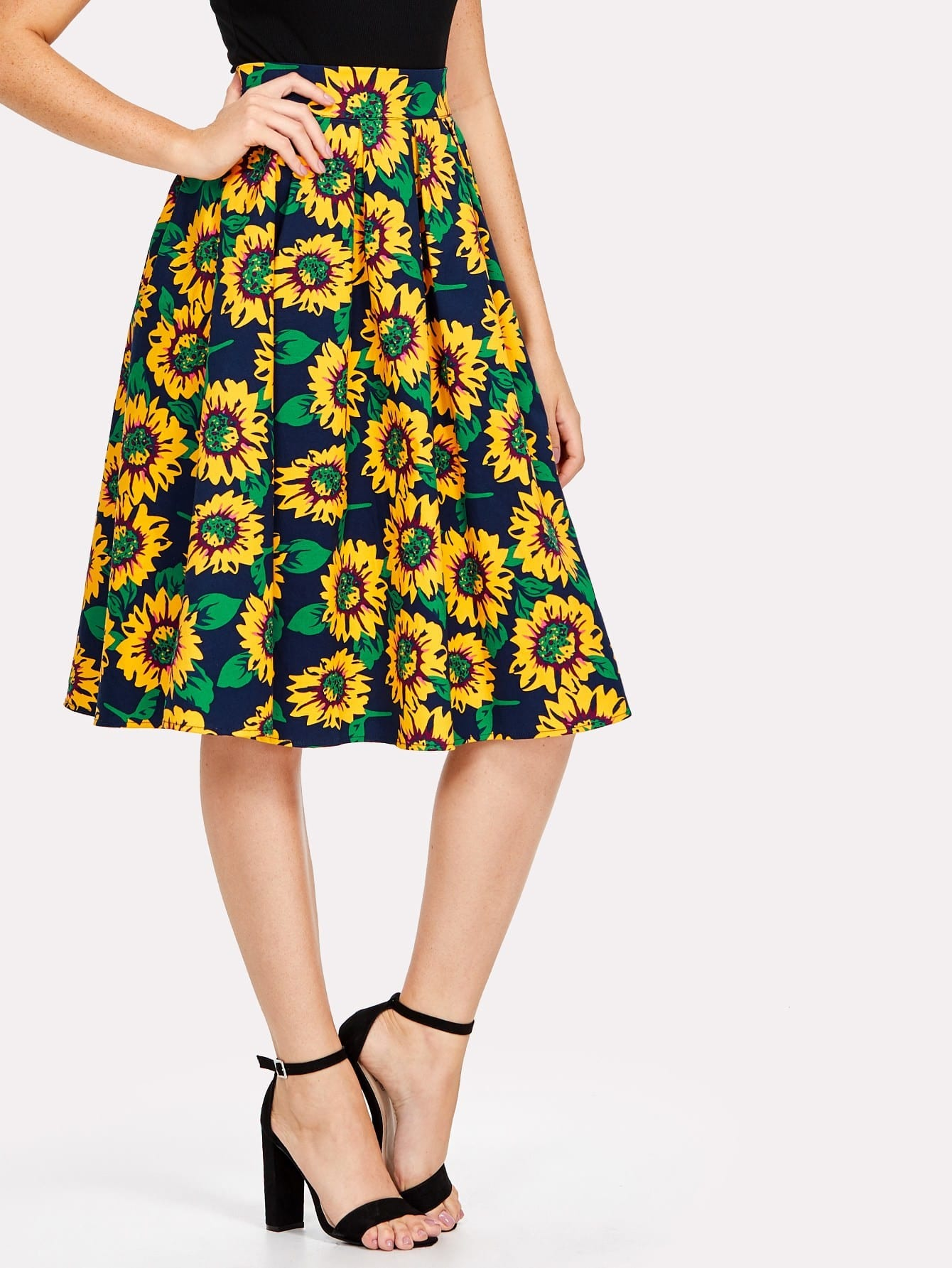 Random Sunflowers Print Skirt random sunflowers print skirt