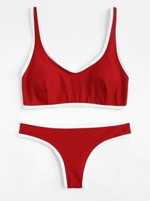 Contrast Trim Bikini Set